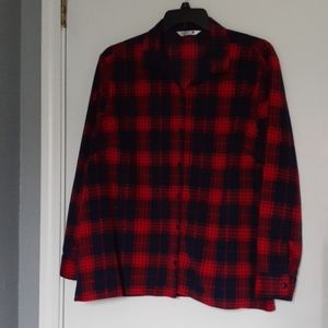 RED & BLUE FLEECE PLAID SHIRT SIZE XXL